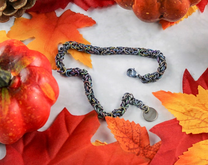 Multi-color Titanium Byzantine Bracelet