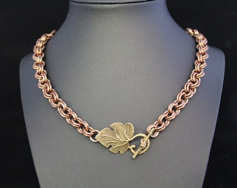 "20"" Bronze Leaf Pendant - Bronze Chainmaille Leaf - Bronze Leaf Necklace - Leaf Toggle Necklace - Leaf Toggle Pendant"