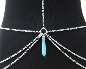 Silver and Gemstone Body Chain - Body Harness