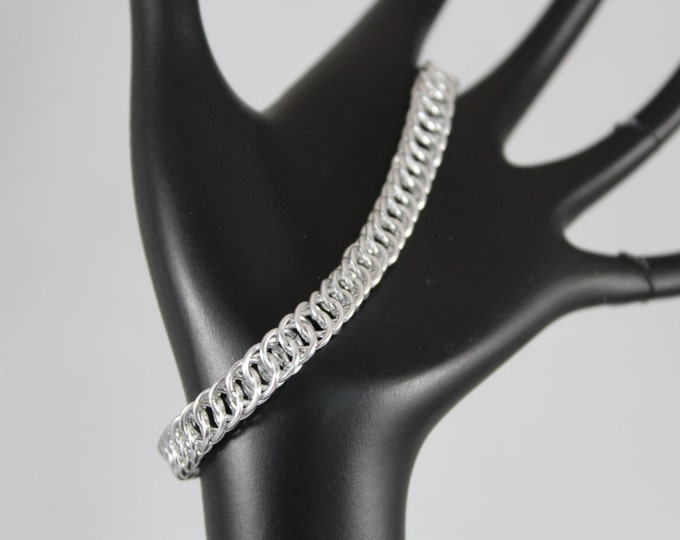 Chainmaille Bracelet, Half-Persian 4-in-1 Silver