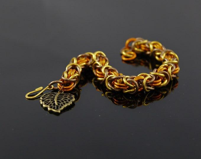 Bronze Leaf Charm Bracelet - Fall Color Bracelet - Autumn Bracelet