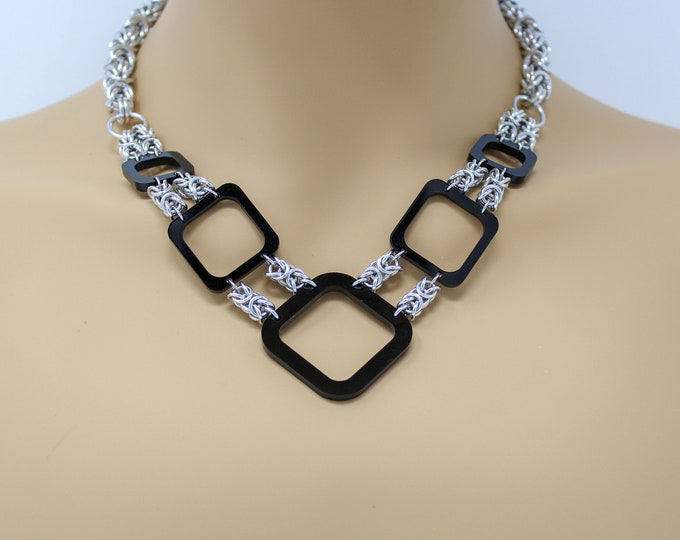 Black and Silver Chainmaille Statement Necklace