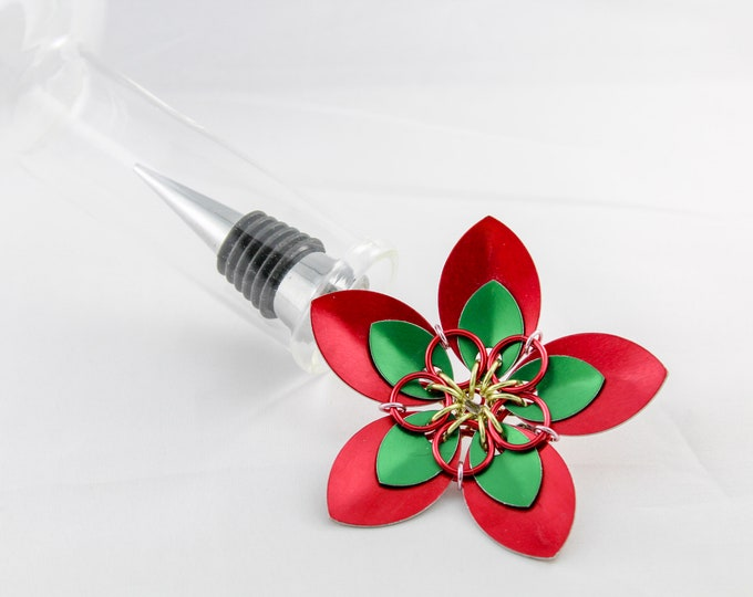 Stainless Steel Bottle Stopper - Red and Green Christmas Scale Flower
