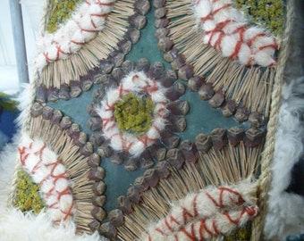 Scandi folk motif nature collage artwork