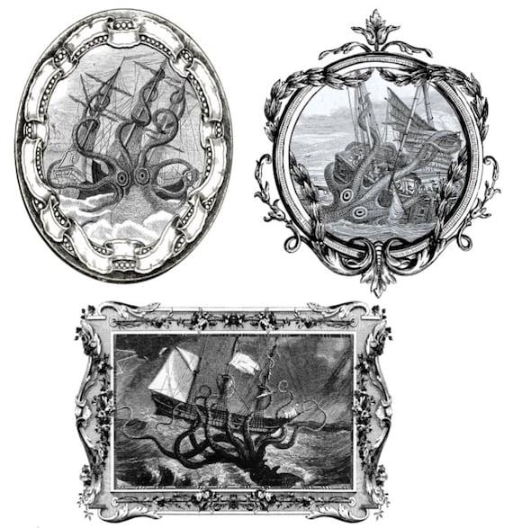Vintage Framed Ship & Kraken Temporary Tattoos