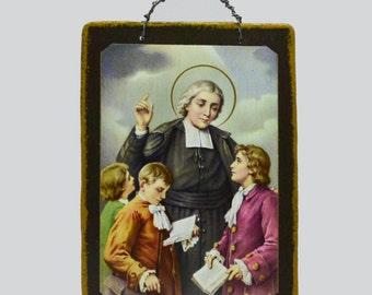 St. John Baptist de la Salle Mini Icon/ la Salle Confirmation Saint/ Patron Saint Educators/St. John Baptist Holy Card/Catholic Confirmation