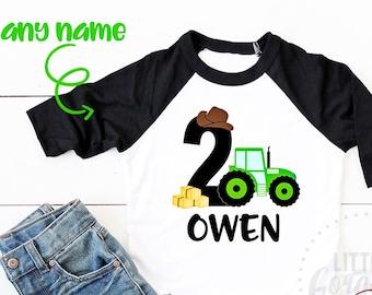Boys Second Birthday Tractor Farm Shirt