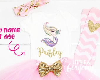 09ca5c9144 Personalized mermaid outfit Personalized mermaid outfit  16.15  17.95.  Girls White and Gold Unicorn One First Birthday ...