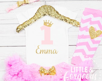30e20c7a Baby Girl Princess Pink and Gold First Birthday Onesie with Tutu Outfit