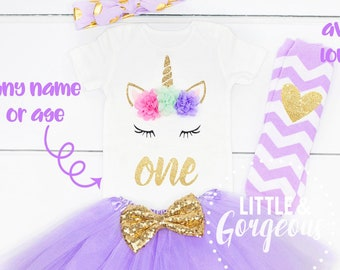 9699ce04 Unicorn Girls Pink and Gold First Birthday Outfit