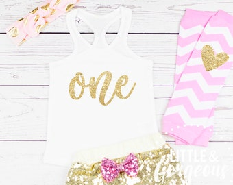 f3b3111d38 First Birthday Outfit One Pink and Gold Sequin Shorts