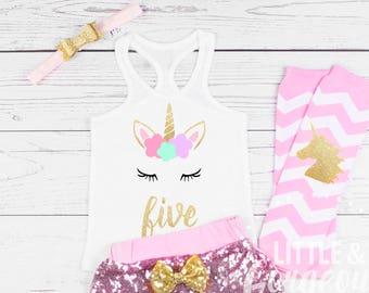 Girls Unicorn 5th Birthday Outfit, Five Birthday Outfit, Unicorn Tanktop, Girls 5th Birthday Shirt, Five Birthday Unicorn, Sequin Shorts
