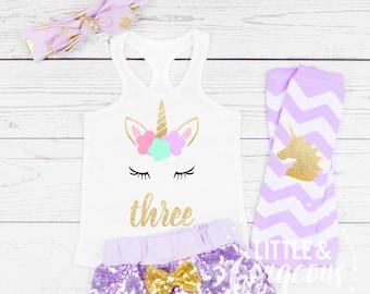 Girls Third Birthday Unicorn Outfit 3rd Tank Top Three Shirt