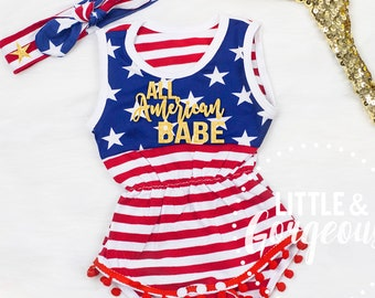 c0bfe918 Girls Fourth Of July Outfit, 4th of July Outfit, All American Babe, Girls  Fourth of July Romper, Independence Day Outfit
