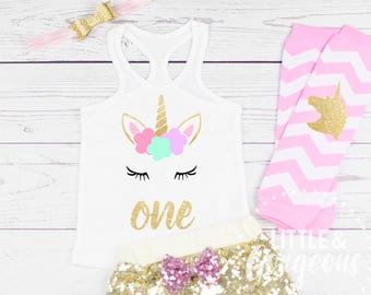 Girls Unicorn First Birthday Outfit, 1st Birthday Outfit, Unicorn Tanktop, Baby Girl One Birthday, 1st Birthday Unicorn, Sequin Shorts