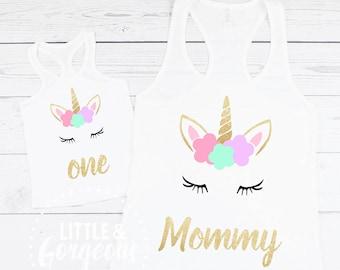 Unicorn Mommy Tanktop, Mommy Unicorn Shirt, Unicorn Mom Tanktop, Unicorn First Birthday Outfit, Mommy and Me Unicorn, 1st Birthday girl
