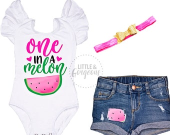 fa020008c Girls First Birthday Outfit One in a Melon Watermelon with Distressed Jean  Shorties