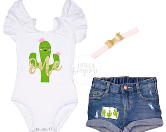 d9d45724c Cactus First Birthday Outfit Girl 1st Birthday Outfit Cactus One Leotard Baby  Girl One Birthday 1st Birthday Distressed Jean Shorts