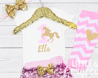 e0c8a029005 Girls Pink and Gold First Birthday Unicorn Outfit with Pink Sparkle Shorts