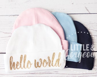 15caf200da4 Baby Going Home Outfit Newborn Hat Hello World Beanie Personalized