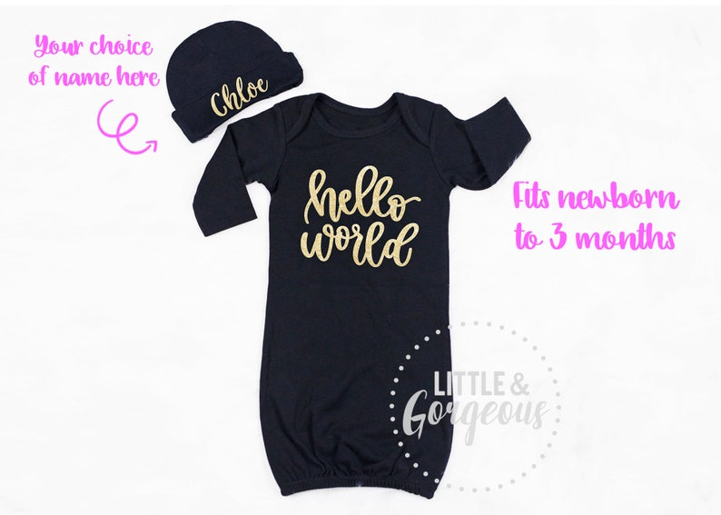 7f930e76d Baby Girl Going Home Outfit Hello World Newborn Outfit Newborn | Etsy