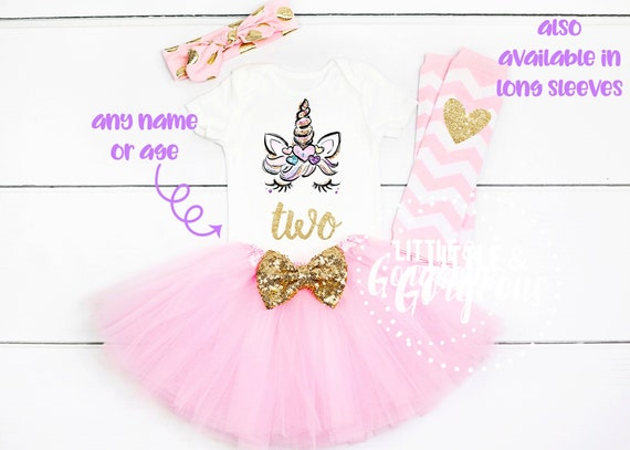 Second Birthday Outfit Girl Unicorn 2nd