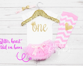 First Birthday Outfit Girl, 1st Birthday Outfit, First Birthday Onesie, Girls Gold Pink Princess Outfit, 2nd Birthday, Pink Gold Birthday