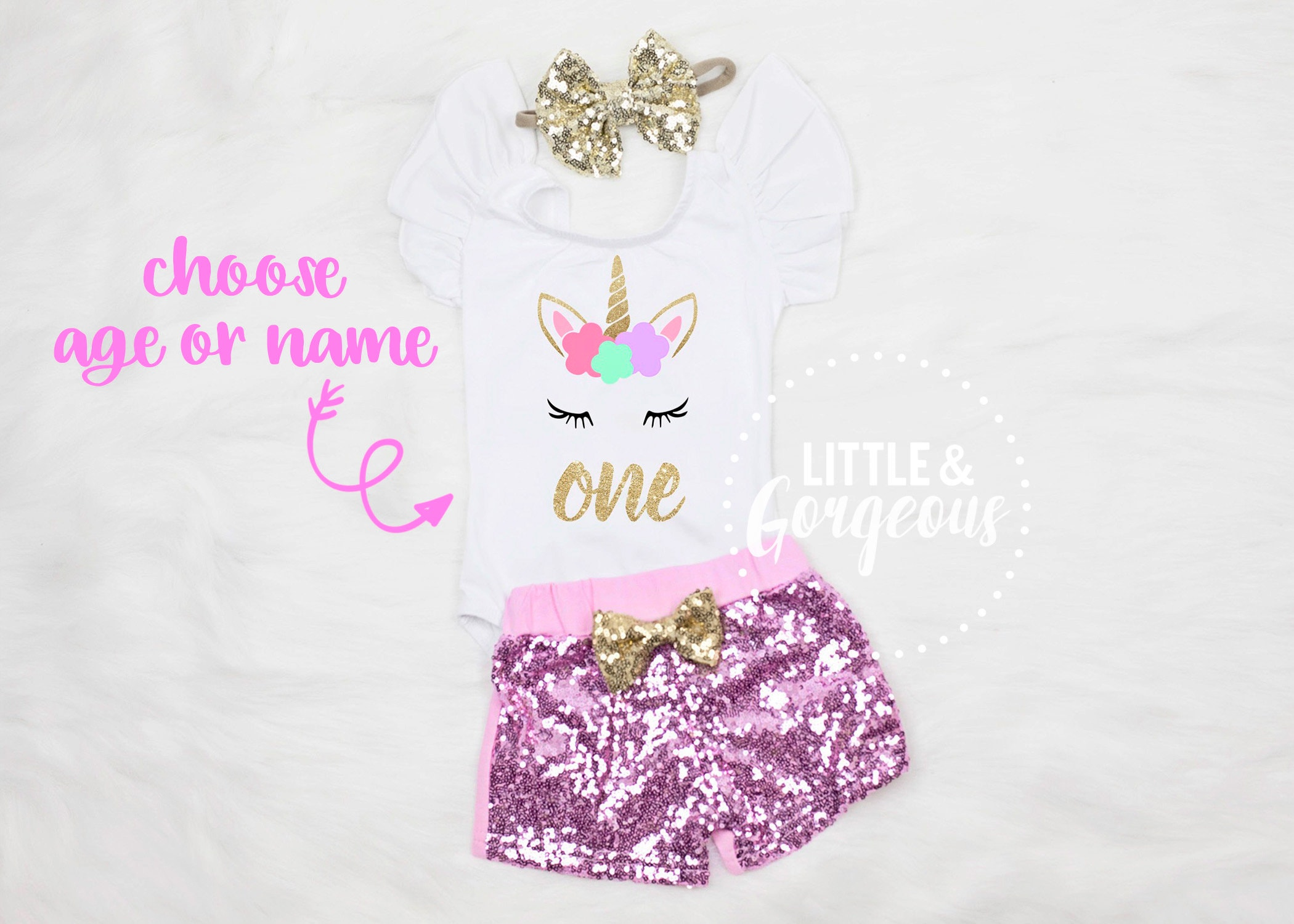 d9ec07f6 Girls Unicorn First Birthday Outfit With Gold Sequin Shorts by Little &  Gorgeous