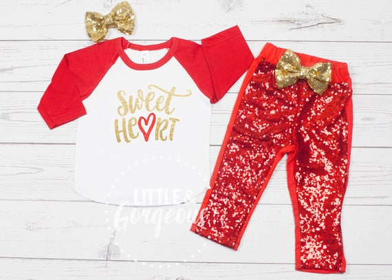 Girls Valentine S Day Outfit 1st Valentines Outfit Girls Etsy