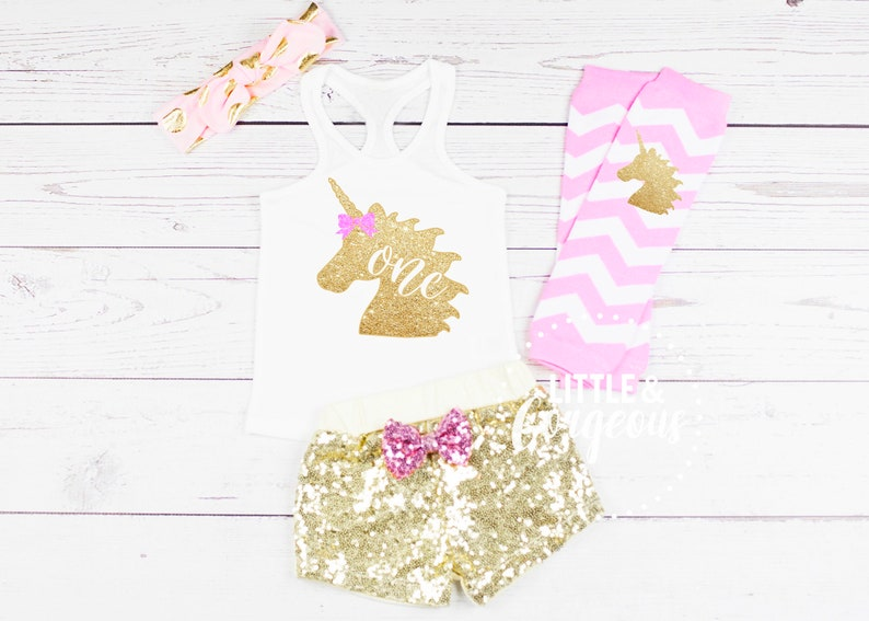 Girls First Birthday Outfit 1st Birthday Outfit Baby Girl One Birthday 1st Birthday Unicorn Sequin Shorts