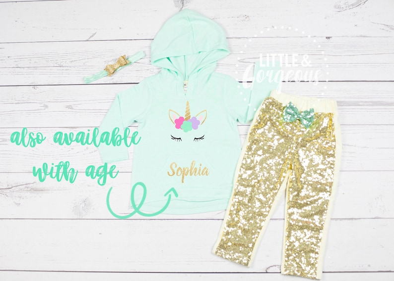 Girls Personalized Unicorn Outfit Girls Unicorn Outfit Personalized Unicorn Baby Girls Unicorn Outfit Sparkle Pants Sequin Pants