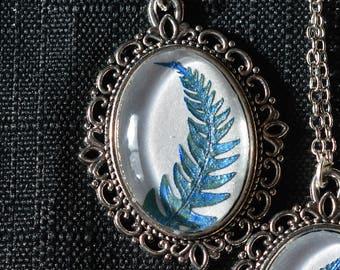 Blue Fern Frond Victorian Pendant Necklace
