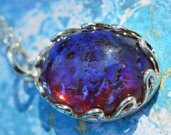Dragon's Breath Opal Pendant Necklace