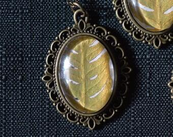 Golden Fern Frond Victorian Pendant necklace