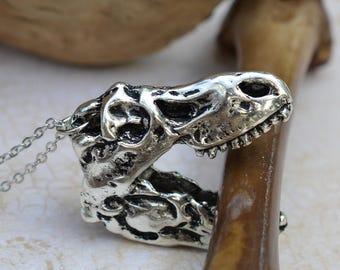 Tyrannosaur Dinosaur Fossil Skull pendant Necklace