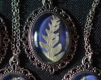 Silver and Blue Fern Frond Victorian Pendant Necklace