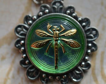 Light Green Dragonfly Pendant Necklace