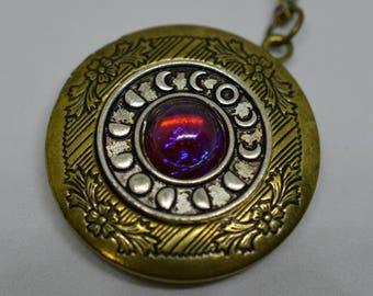 Dragon's Breath Opal Lunar Locket