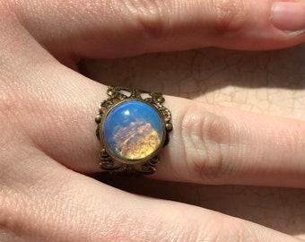 Snake skin opal ring