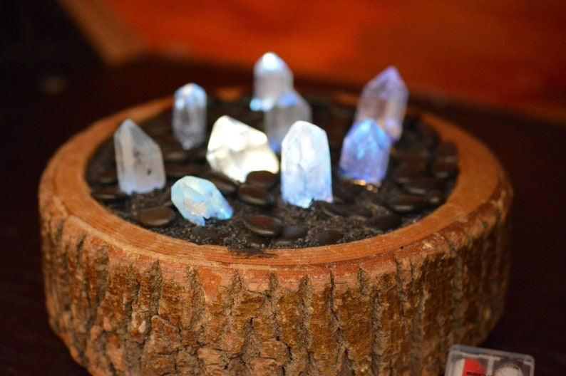 Blue Quartz Crystal Ambiance Lamp in Wooden Display battery operated LED