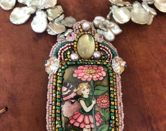 Bead Embroidery Necklace with Fairy ,Chrysanthemums , Keshi Pearls, and Ouro Verde .