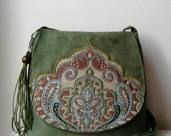 2a5d3a8420 Green messenger bag Green oriental bag Oriental purse Boho crossbody bag  Vegan bag Medium sized bag Sling boho bag Hippie bag Evening bag