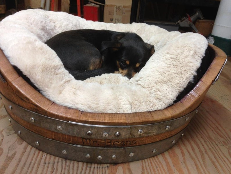 Wine Barrel Dog Bed for dogs up to 50 Pounds image 0