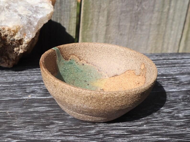 Deserted Topaz Ring Dish Hand Glazed Ceramic Pet Food Dish Handmade Pottery Cobre de Verde and Nutmeg Glazed Hialohagoodbye
