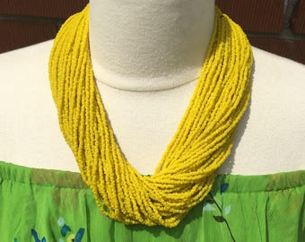 Indian glass bead multi-strand necklace