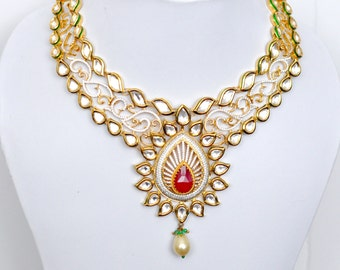 SALE 50% OFF Meenakari Kundan bridal necklace set with ruby, emerald and cubic zirconia stones |Indian wedding Jewelry Indian bridal jewelry