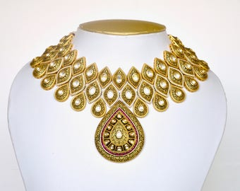 Oxidised gold mughal inspired choker necklace set with matching earrings | Indian wedding Kundan Jewelry | Indian bridal jewelry
