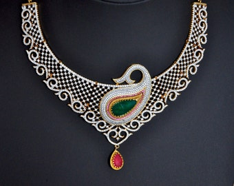 SALE 50% OFF - American Diamond bridal Indian necklace set with ruby and emerald stones | Indian wedding Jewelry | Indian bridal jewelry