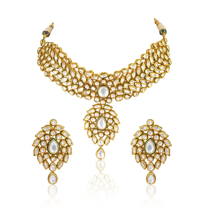 Alert South Indian Jewelry Gold Plated Bridal Set Kundan Pearl Necklace Earrings Tikka Jewelry & Watches