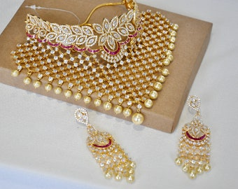 American Diamond bridal Indian necklace choker set with ruby and white stones | Indian wedding Jewelry